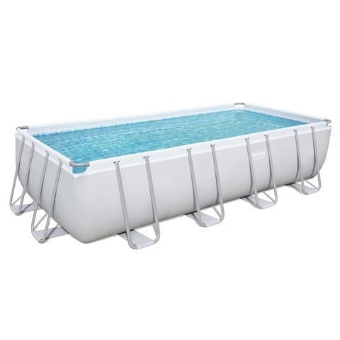 Каркасный бассейн Bestway 56671 (488х244х122 см) с песочным фильтром, лестницей и тентом / 18201