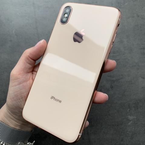Чехол iPhone XS MAX Glass Silicone Case Logo /rose/