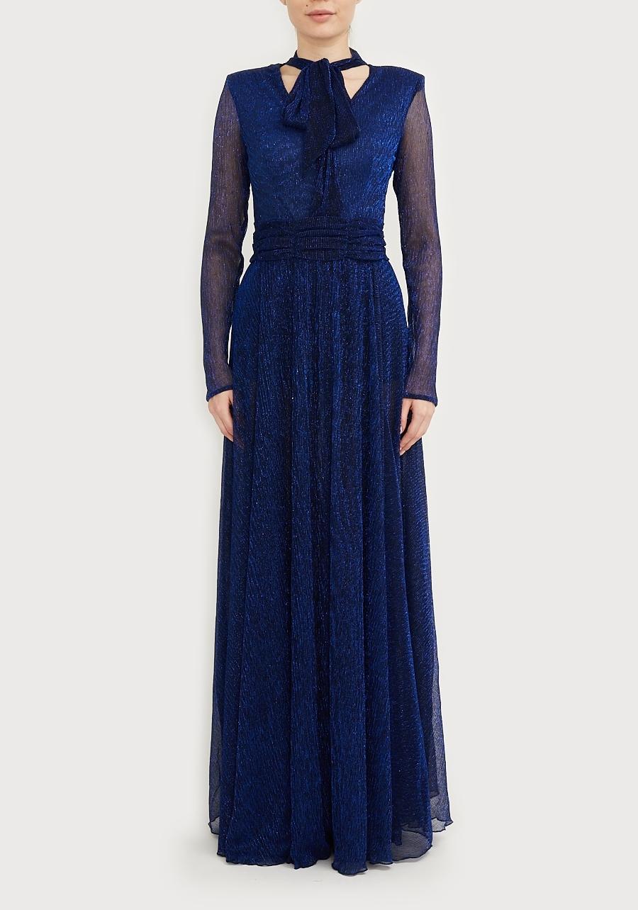 Платье синее макси с шортами
