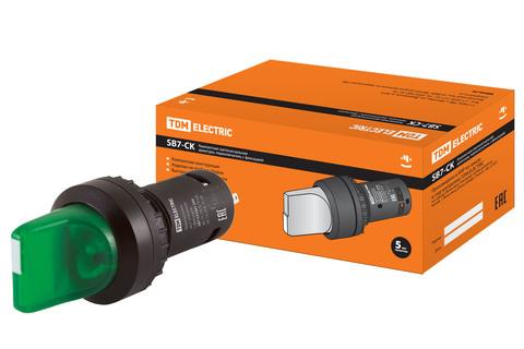 Переключатель на 2 положения с фиксацией SB7-CK2361-24V короткая ручка(LED) d22мм 1з зеленый TDM