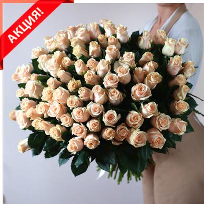 Букет 101 кремовая роза Талеа акция