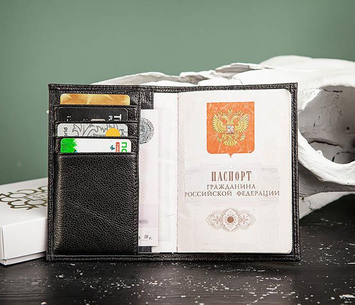BC216-1 Обложка для паспорта и карт из натуральной черной кожи «Santini»