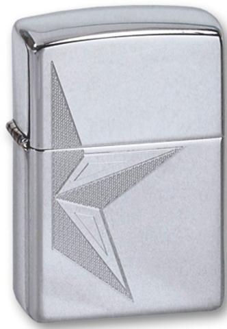 Зажигалка Zippo Half Star с покрытием High Polish Chrome, латунь/сталь, серебристая, глянцевая123