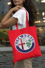 Женская сумка-шоппер с принтом Альфа Ромео (Alfa Romeo) красная 001