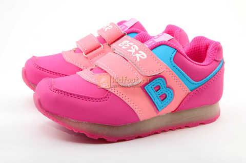Светящиеся кроссовки Бебексия (BEIBEIXIA) для девочек, цвет розовый, светится вся подошва. Изображение 6 из 10.