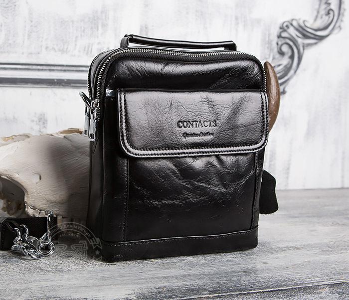 BAG413-1 Мужская сумка из натуральной кожи с ремнем и ручкой