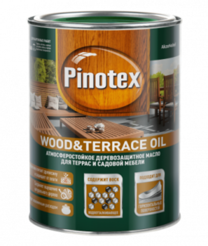 Pinotex Wood & Terrace Oil/Пинотекс Вуд энд Террас Оил Колеруемое масло для террас и садовой мебели