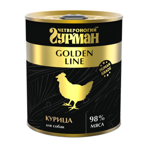 Четвероногий Гурман Golden Консервы для собак с натуральной курицей в желе (Банка)
