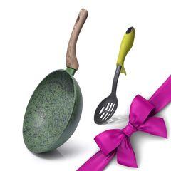 Комплект: Сковорода-вок MALACHITE 24x7см и Ложка с прорезями CARRERA