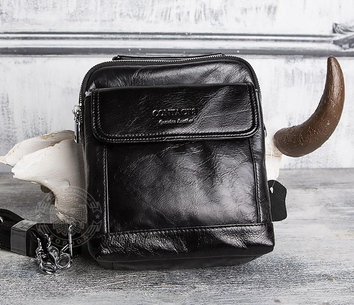 BAG413-1 Мужская сумка из натуральной кожи с ремнем и ручкой фото 02