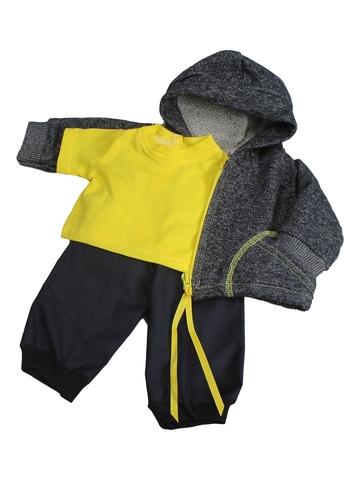 Трикотажный костюм футер деним - Желтый. Одежда для кукол, пупсов и мягких игрушек.