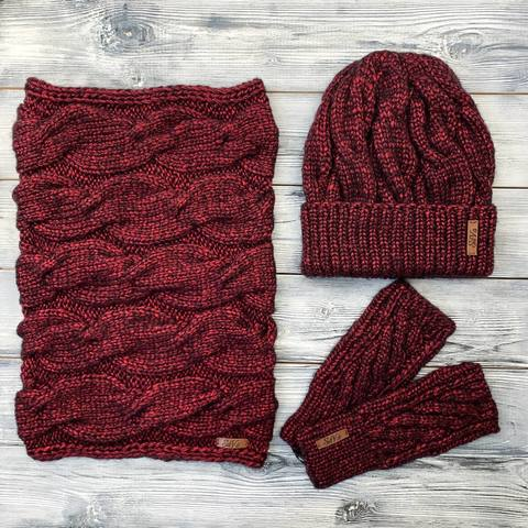 Комплект: шапка, снуд, митенки