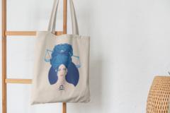 Сумка-шоппер с принтом Знаки Зодиака, Весы (Гороскоп, horoscope) бежевая 006