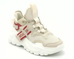 Бежевые кроссовки на массивной белой платформе