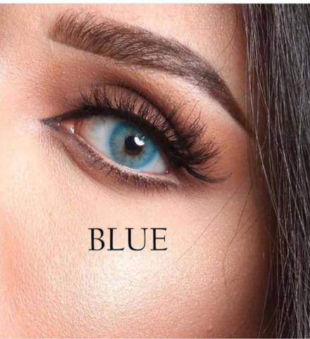 Голубые линзы на 3  мес Marquise royal blue  / Маркиза - гарантированно перекрывает темный цвет глаз/Цветные голубые линзы для темных глаз