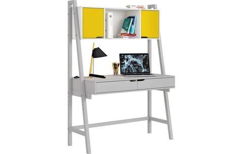 Стол письменный Polini kids Mirum 1446 высокий с полкой, серый/двери желтые