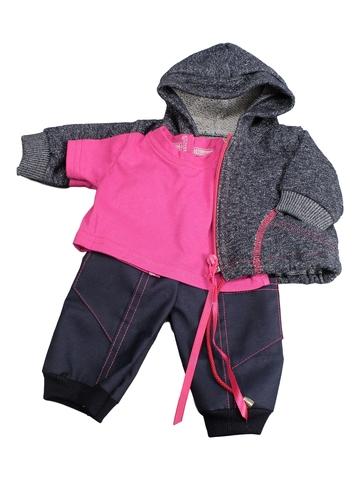 Трикотажный костюм футер деним - Цикламеновый. Одежда для кукол, пупсов и мягких игрушек.