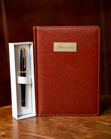 Набор с гравировкой: Ежедневник и ручка роллер Parker Urban Core Muted Black GT123