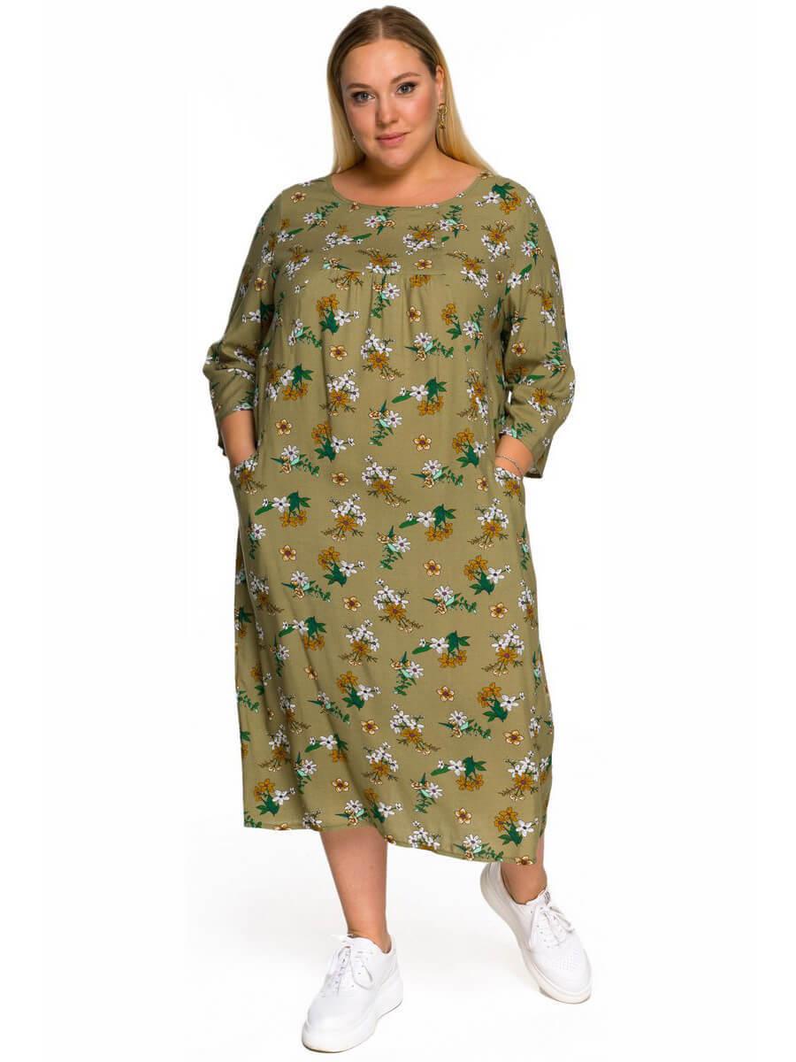 Платье прямого кроя, штапель оливковый