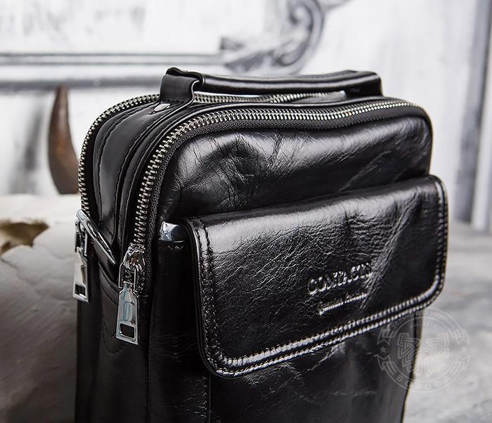 BAG413-1 Мужская сумка из натуральной кожи с ремнем и ручкой фото 03