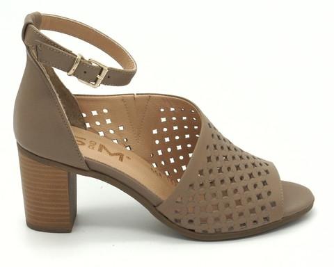 коричневые босоножки из натуральной кожи на устойчивом каблуке