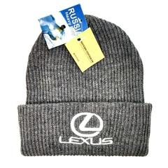 Вязаная шапка с вышитым логотипом Лексус (Lexus) серая фото 2