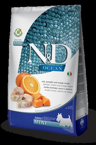 Сухой беззерновой корм Farmina N&D OCEAN COD, PUMPKIN & ORANGE ADULT MINI для взрослых собак маленьких пород