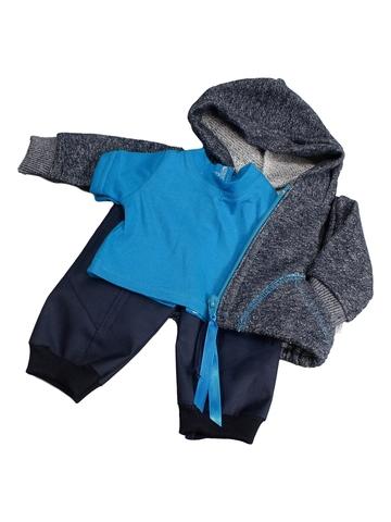 Трикотажный костюм футер деним - Голубой. Одежда для кукол, пупсов и мягких игрушек.