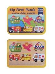Развивающие деревянные пазлы в жестяной коробке Транспорт SHAPES PUZZLE 27 деталей, 6 видов для детей от 3-х лет