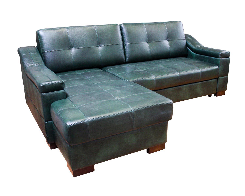 Угловой диван Макс П5 1я2д, обивка натуральная кожа