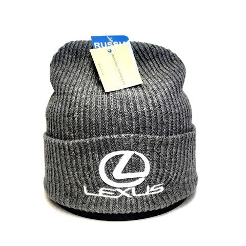 Вязаная шапка с вышитым логотипом Лексус (Lexus) серая