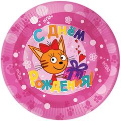 Тарелки (7''/18 см) Три Кота, С Днем Рождения!, Розовый, 6 шт.