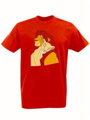 Футболка с принтом мультфильма Король лев (The Lion King, Симба, Нала) красная 0016