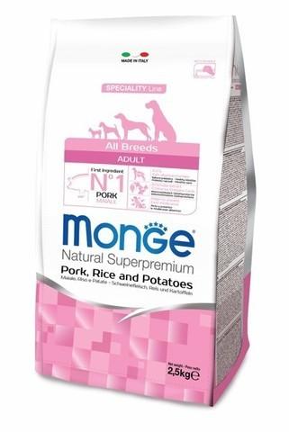 купить сухой корм Monge Speciality Line Adult All Breeds Pork, Rice and Potatoes для взрослых собак всех пород со свининой, рисом и картофелем