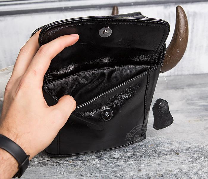 BAG413-1 Мужская сумка из натуральной кожи с ремнем и ручкой фото 05