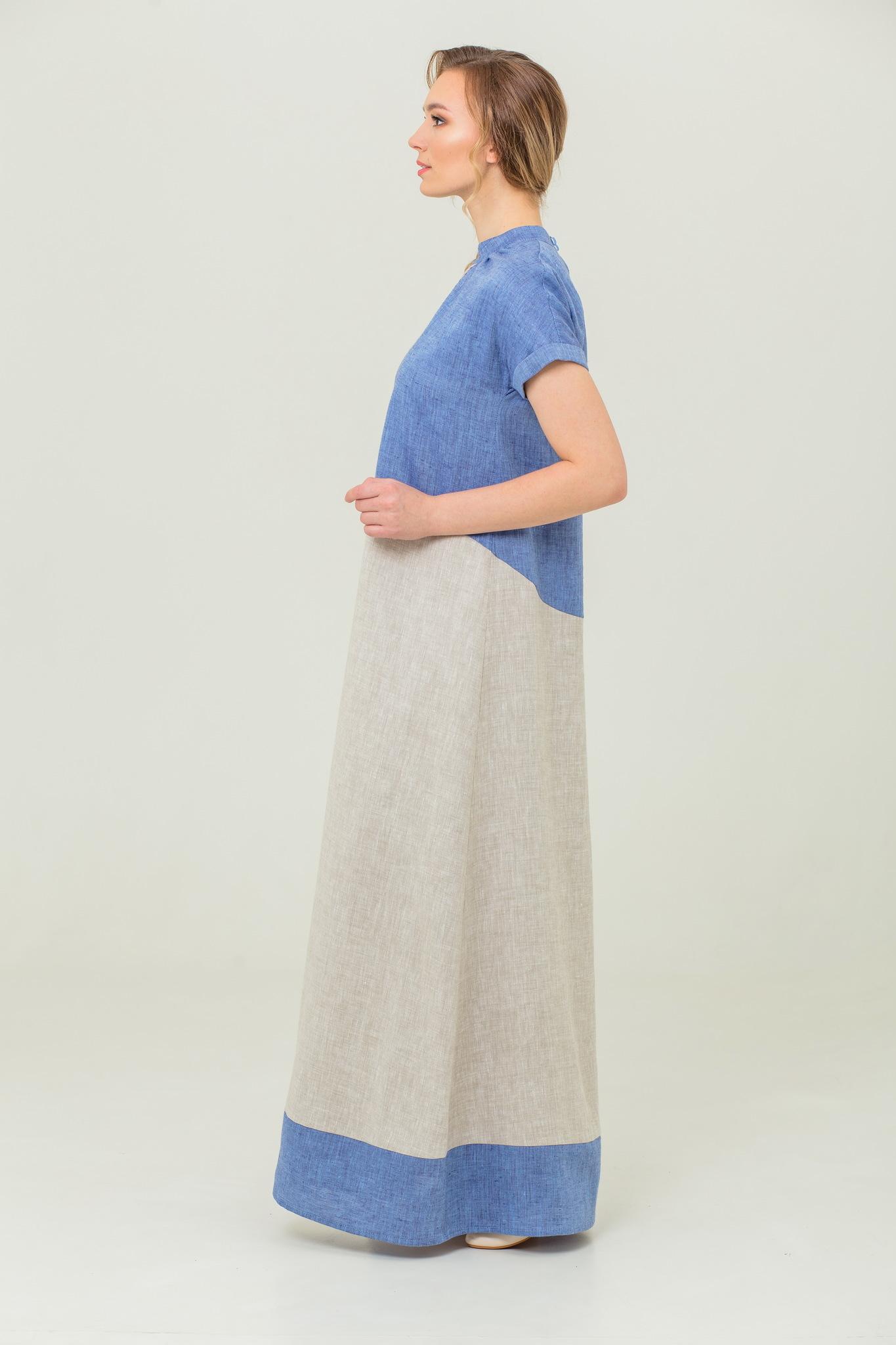 Славянское платье Морской песок из льна