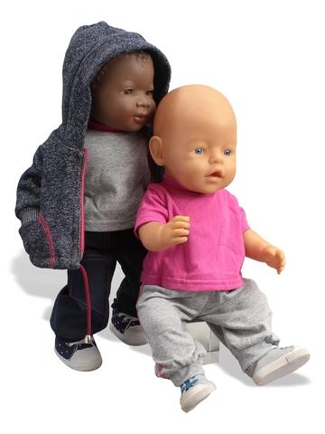 Трикотажный костюм футер деним - На кукле. Одежда для кукол, пупсов и мягких игрушек.