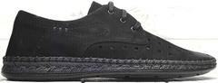 Летние туфли под джинсы мужские smart casual Luciano Bellini 91754-S-315 All Black.