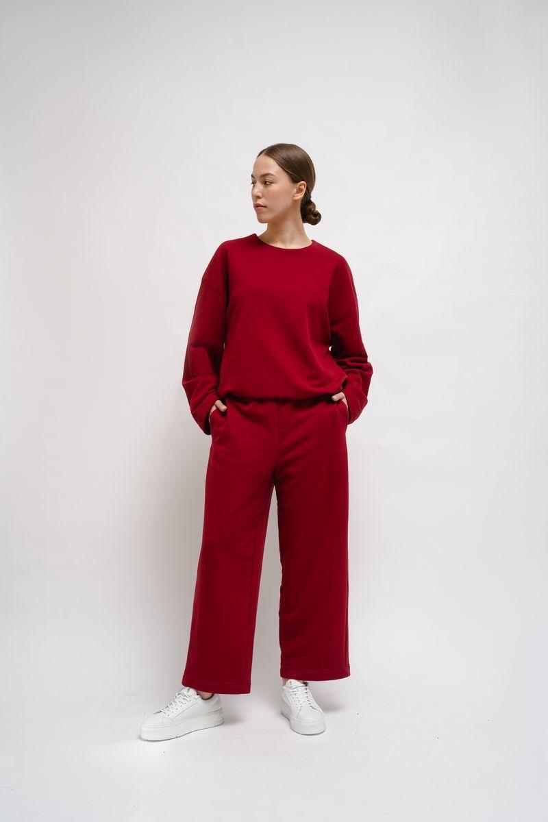 Домашние трикотажные брюки бордовые