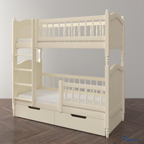 Высокая двухъярусная кровать для подростков.  Ящики и ограждающие бортик приобретаются дополнительно (опции)
