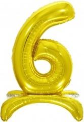 К Шар цифра (32''/81 см), 6 на подставке, Золото, 1 шт. в упак.
