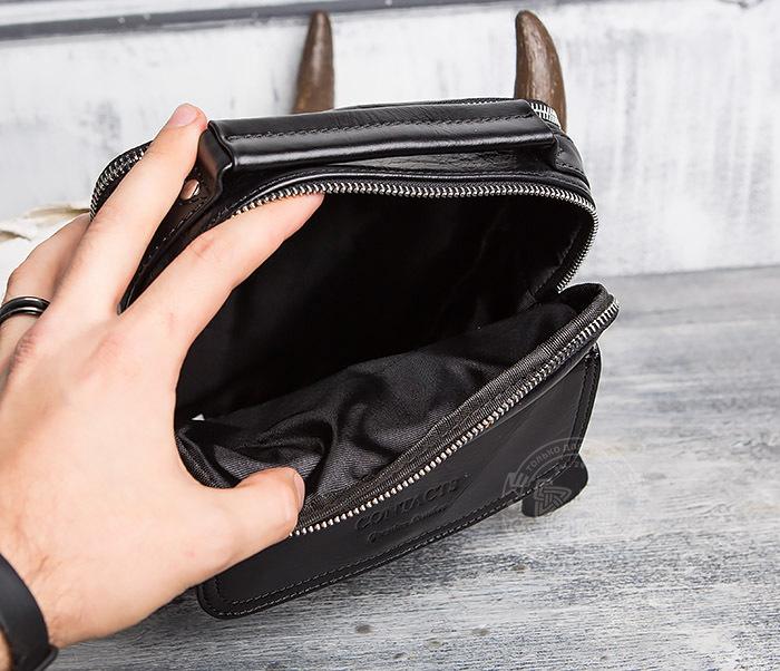 BAG413-1 Мужская сумка из натуральной кожи с ремнем и ручкой фото 06