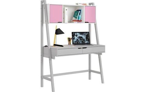 Стол письменный Polini kids Mirum 1446 высокий с полкой, серый/двери розовые