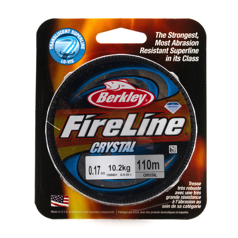 Плетеная леска Berkley Fireline 110 м. Полупрозрачная 0,17 мм. 10,2 кг. Crystal (1308651)