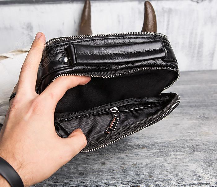 BAG413-1 Мужская сумка из натуральной кожи с ремнем и ручкой фото 07
