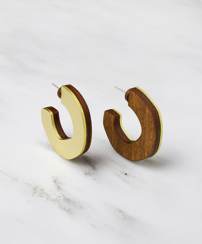 Серьги Cutout Hoops Wood