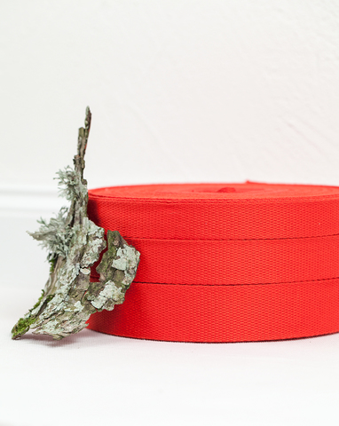 Хлопковая стропа красная 20, 25, 30 мм