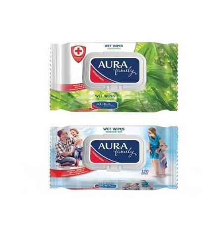 Влажные салфетки для всей семьи антибактериальный эффект 120шт Aura Family