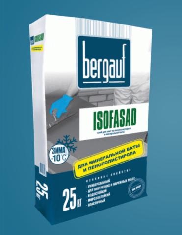 Клей для плит из пеностирола и минеральной ваты Бергауф Изофасад Зима 25 кг