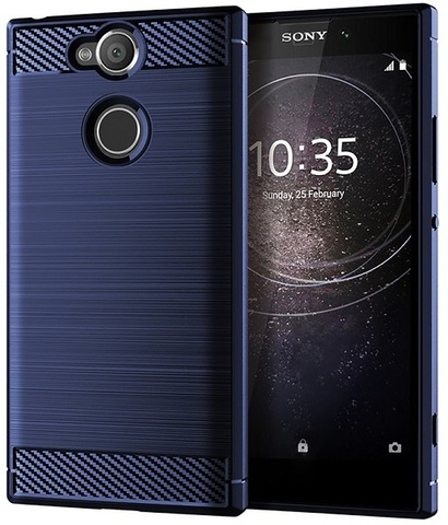 Чехол Sony Xperia XA2 цвет Blue (синий), серия Carbon, Caseport